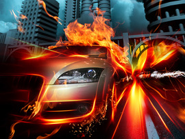 Car In Fire City