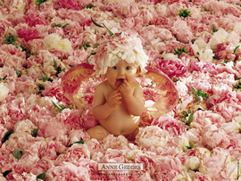 Cute Baby In Flowers