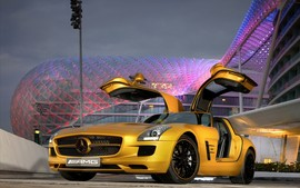 2010 Mercedes Benz Sls Amg Desert Gold Desktop Wallpaper
