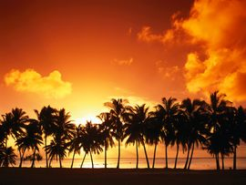 Aitutaki Island At Sunset Cook Islands