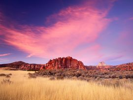 Sandstone Formations At Sunset