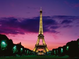 Eiffel Tower At Night Paris France