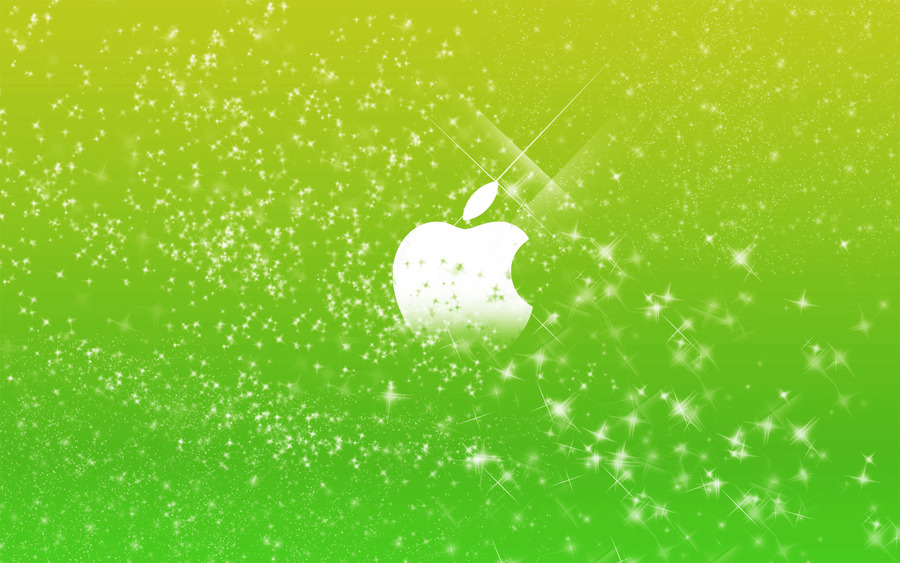 Apple Logo In Green Glitters