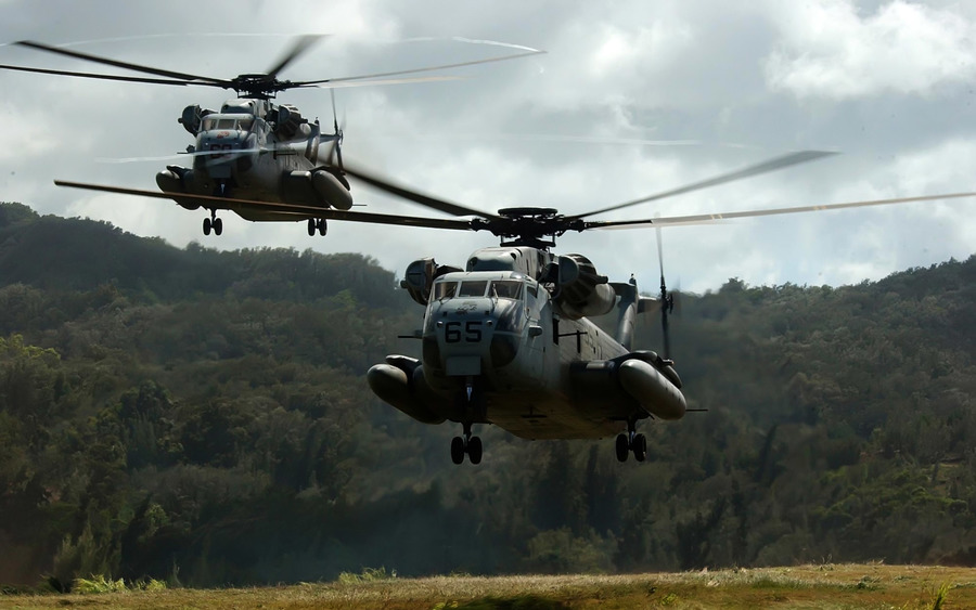 Two Ch 53D Sea Stallion Helicopters