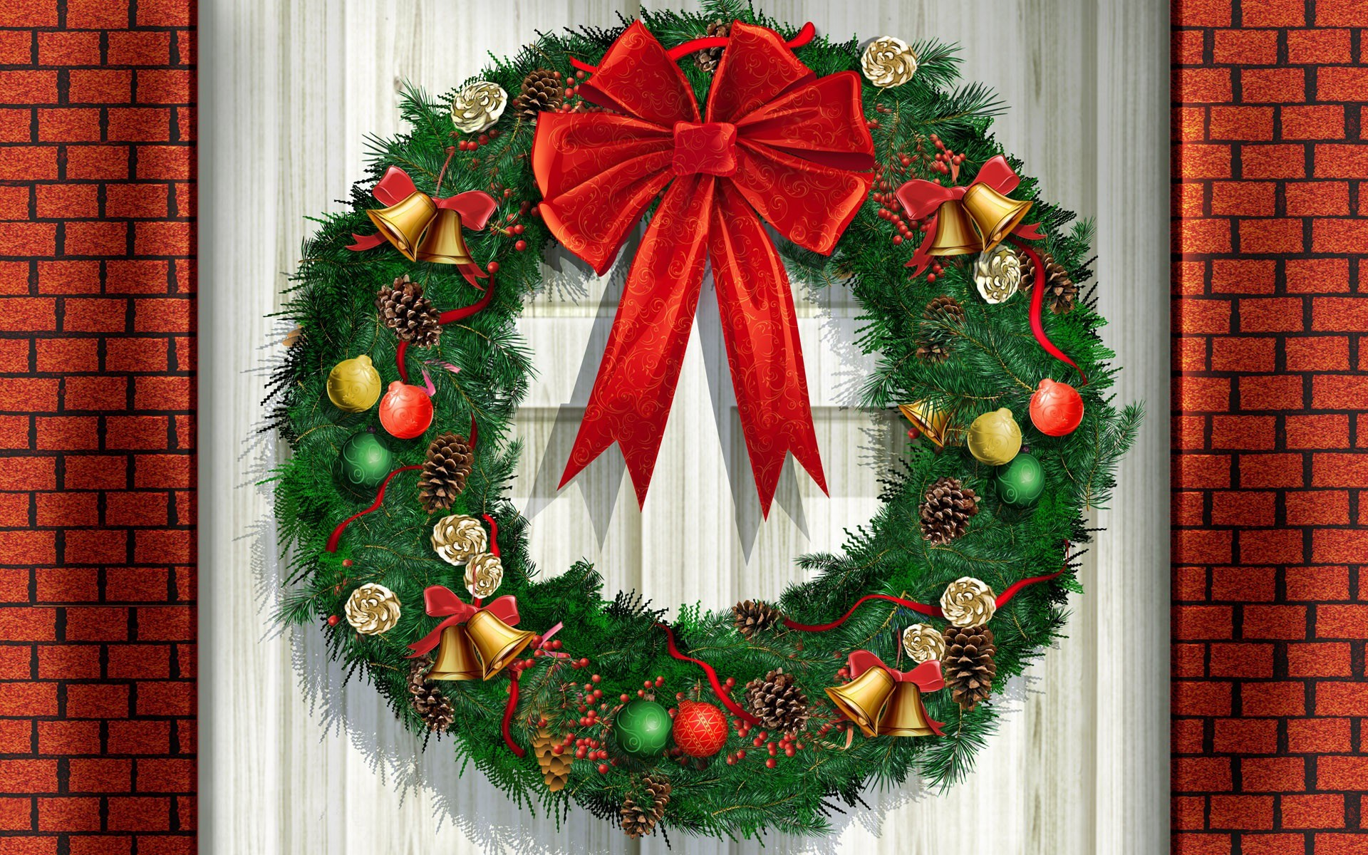 Christmas Wreaths Free Wallpapers - Wallpaper, High ...