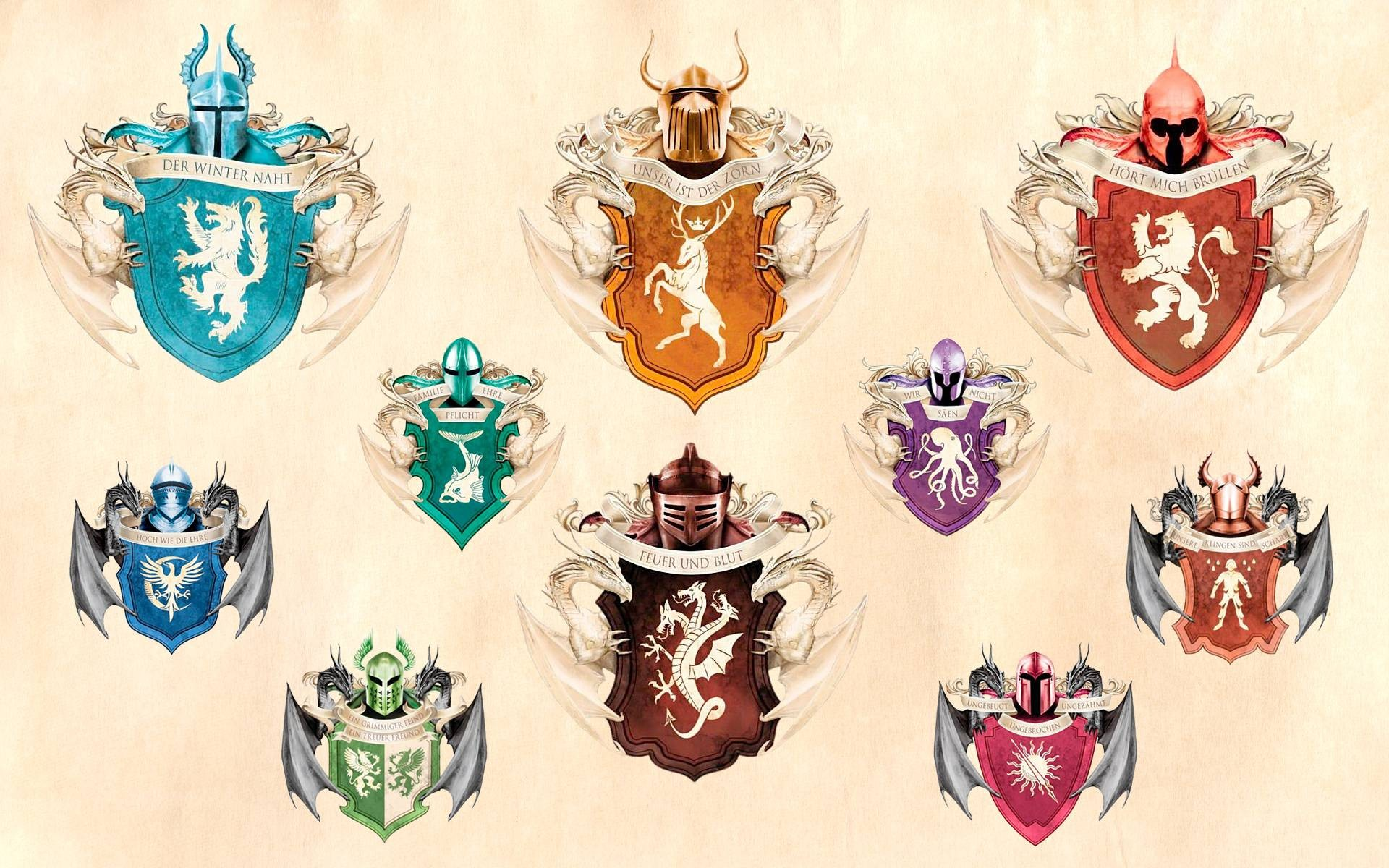 Game Of Thrones Houses Symbols Wallpaper High Definition High