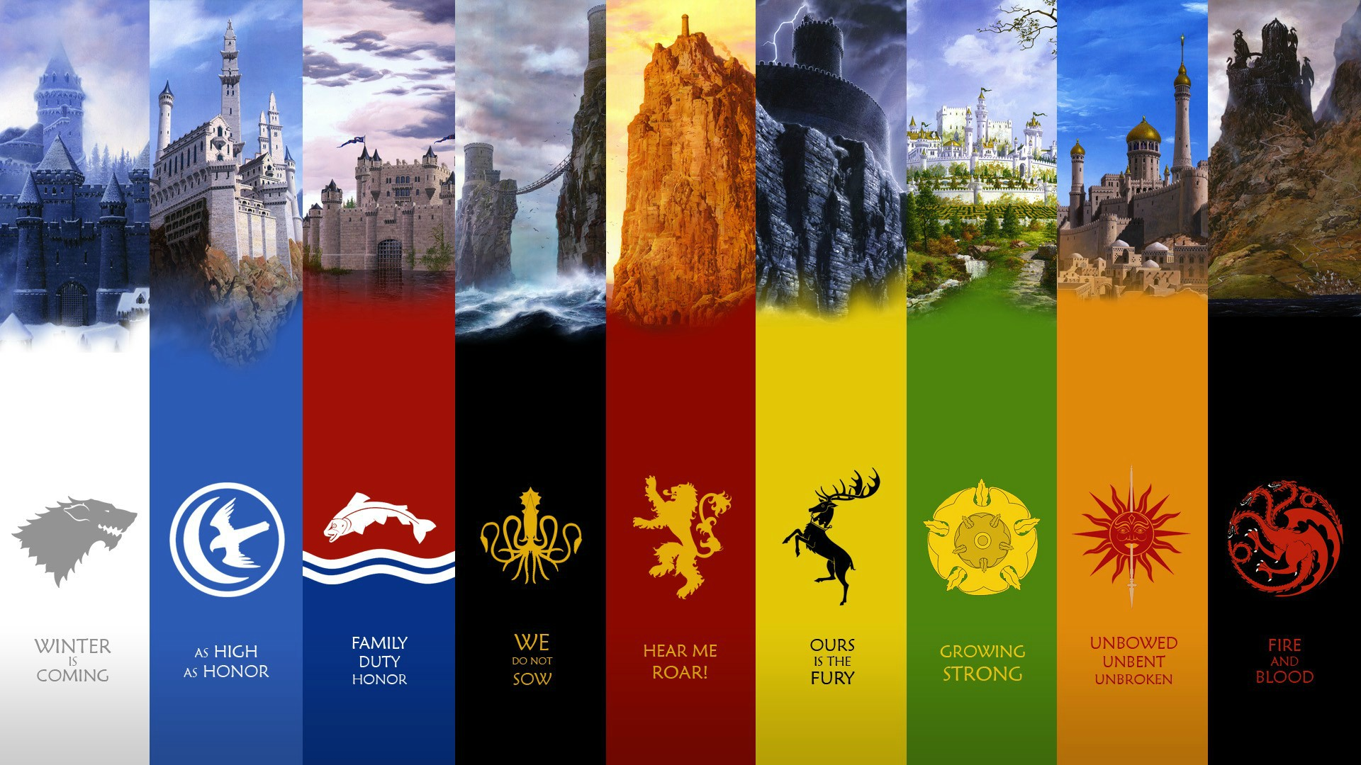 Game Of Thrones Noble Houses Wallpaper High Definition