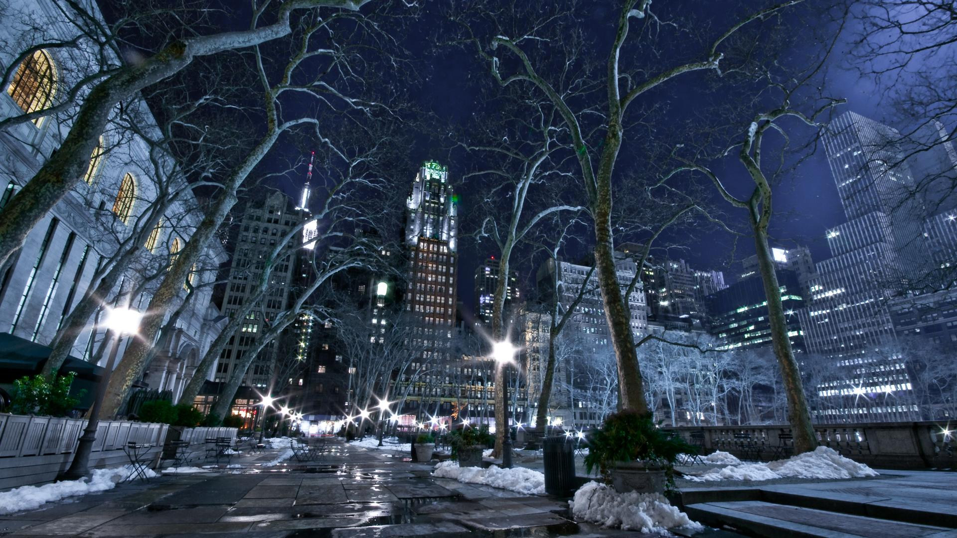 Winter city wallpaper high definition high quality widescreen - Snow night city wallpaper ...