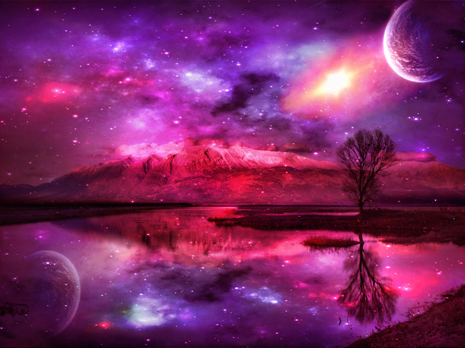 Pink fantasy wallpaper high definition high quality for Space landscape