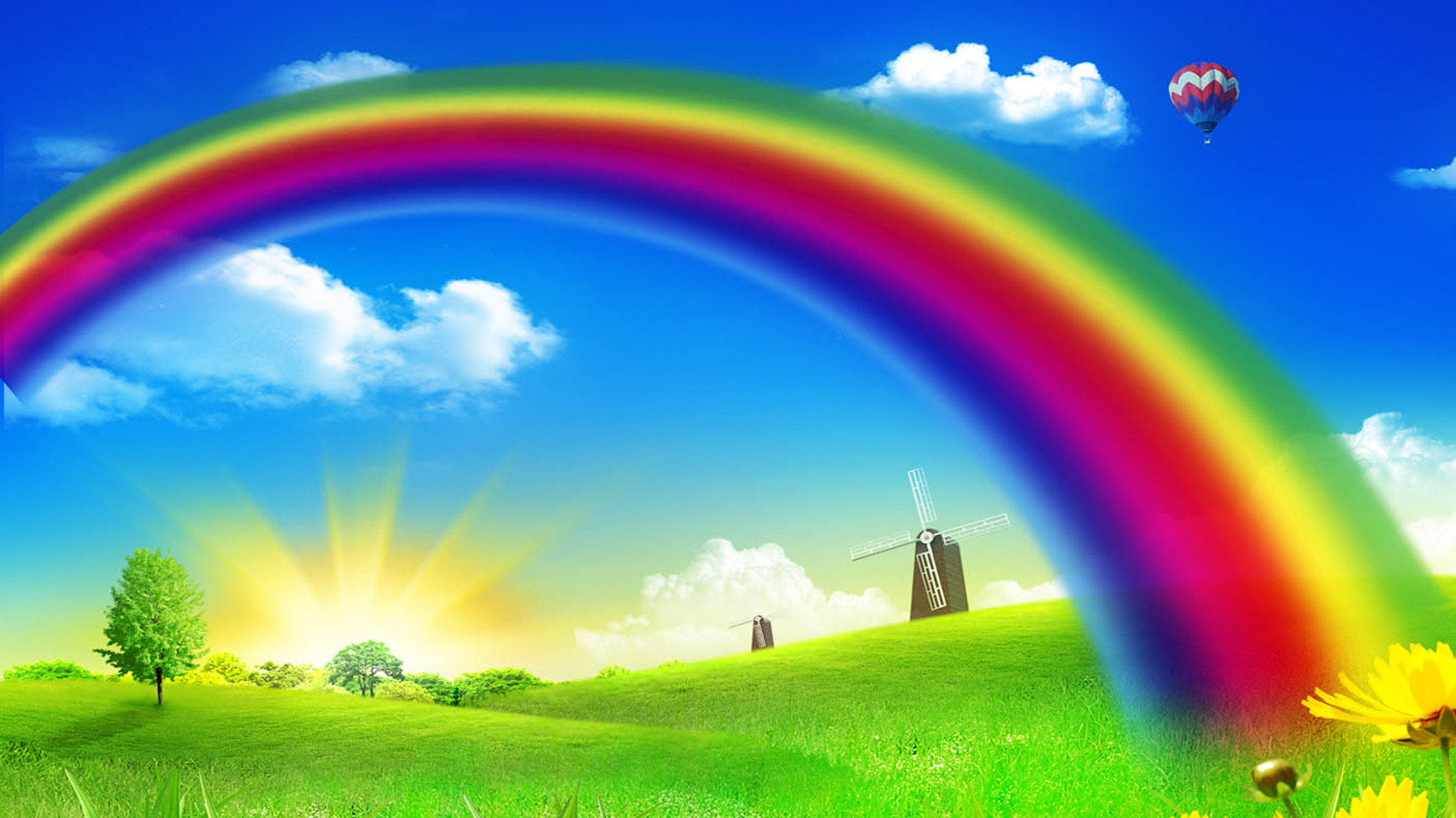 rainbow illustration wallpaper 1920x1080 - photo #18