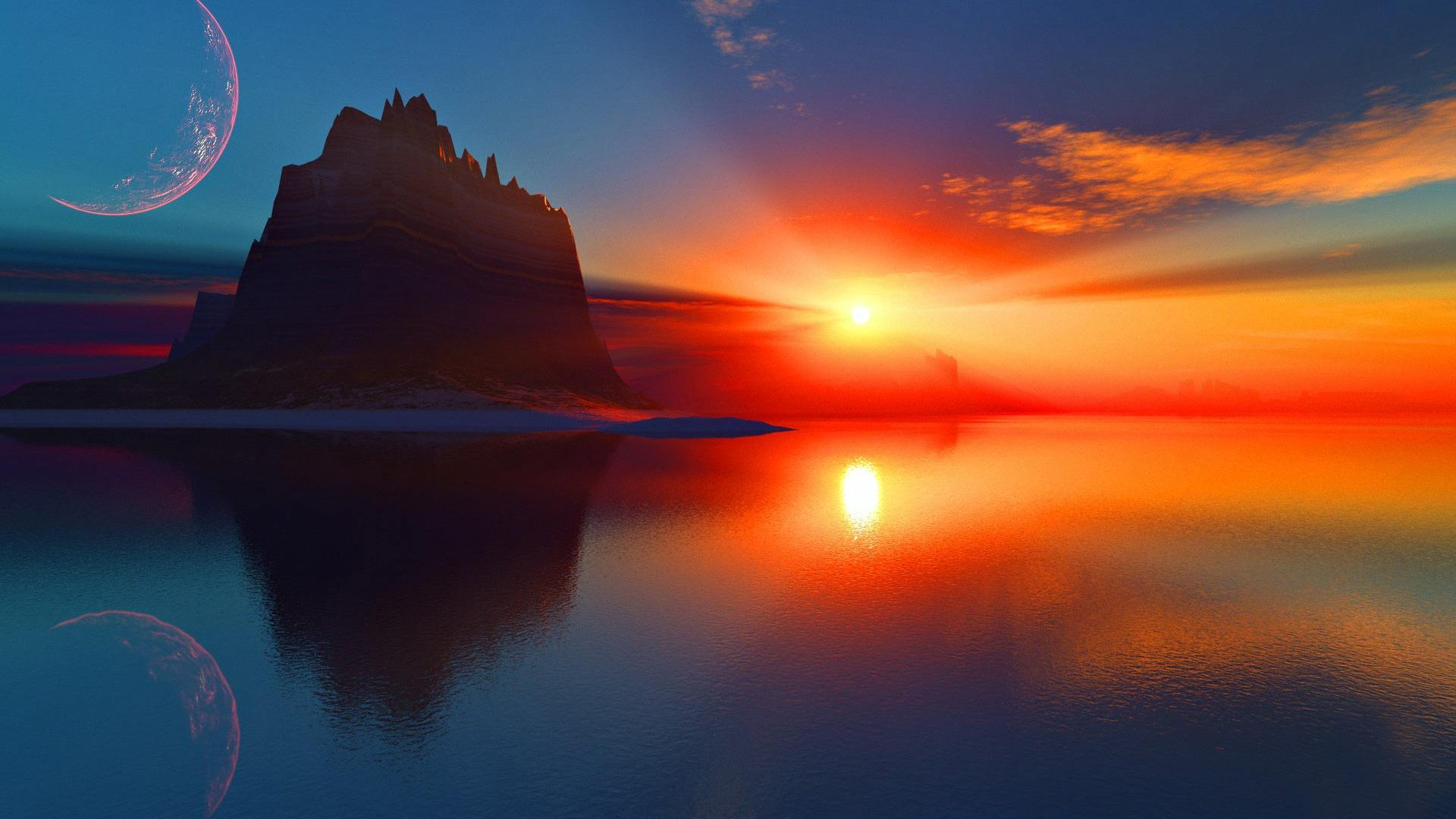 Fantasy Sunset Wallpaper High Definition High Quality Widescreen