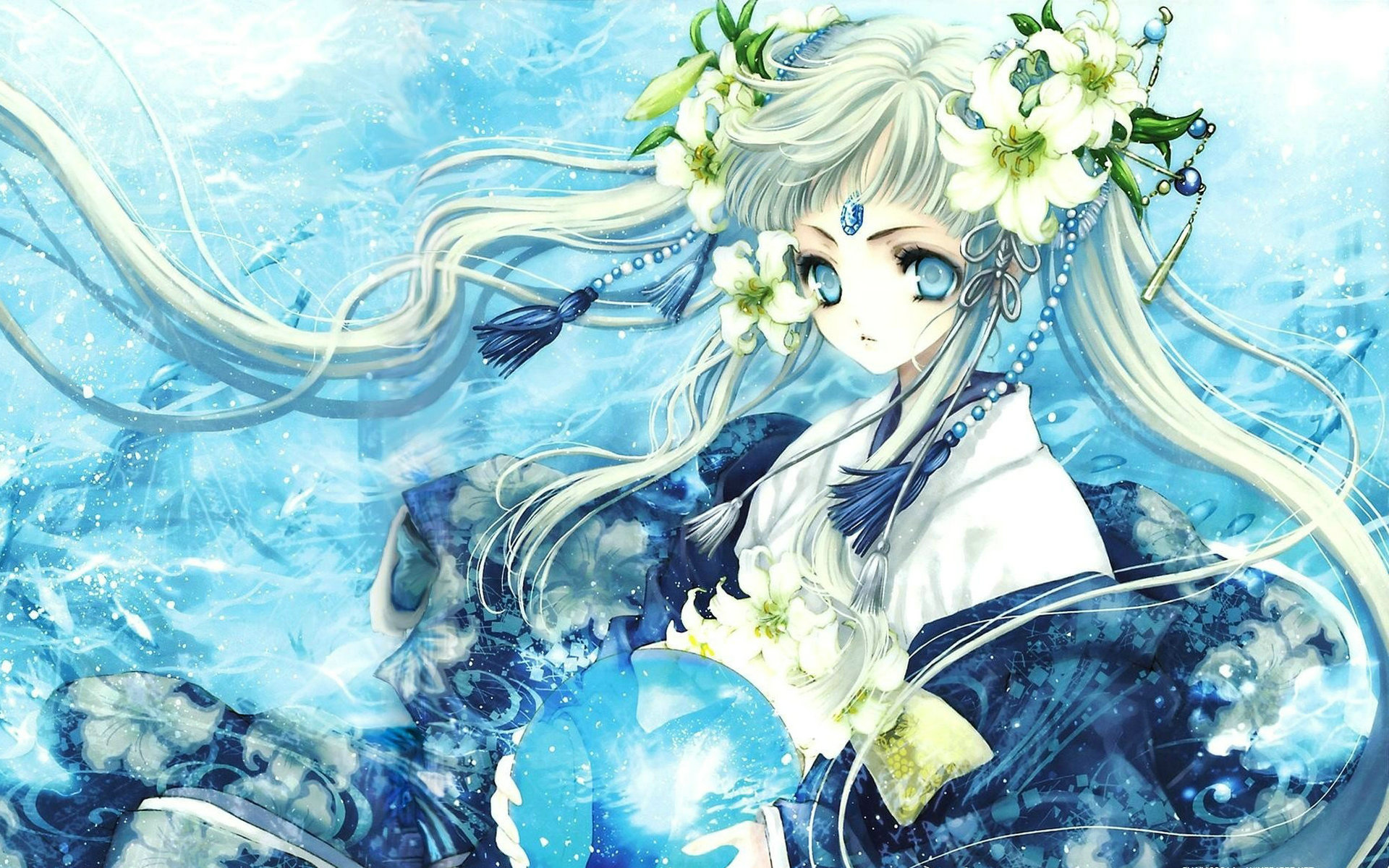Blue anime girl wallpaper high definition high quality - Blue anime wallpaper ...